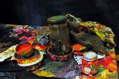 Mesa do ` s do pintor Foto de Stock Royalty Free