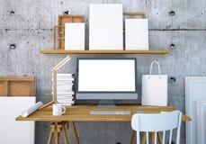 Mesa do trabalho do modelo com um PC 3d Imagens de Stock Royalty Free