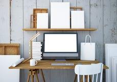 Mesa do trabalho do modelo com um PC 3d Fotos de Stock Royalty Free
