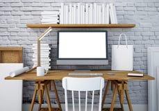 Mesa do trabalho do modelo com um PC 3d Imagens de Stock
