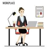Mesa do trabalho, mulher de negócio caucasiano no local de trabalho ilustração do vetor
