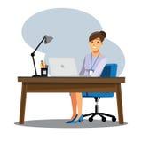 Mesa dos povos das mulheres de negócio, characte dos desenhos animados da ilustração do vetor ilustração royalty free