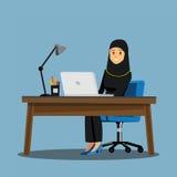 Mesa dos povos das mulheres de negócio, characte dos desenhos animados da ilustração do vetor ilustração stock
