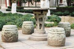 Mesa e banco de pedra Foto de Stock Royalty Free