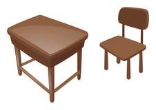 Mesa e cadeira de madeira Imagens de Stock Royalty Free