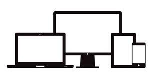Mesa elegante del ordenador portátil de la tableta del teléfono Imágenes de archivo libres de regalías