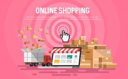 Mesa en línea del concepto de las compras libre illustration