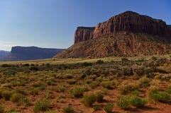 MESA enorme alla luce di primo mattino con le piante del deserto nella priorità alta Fotografia Stock Libera da Diritti