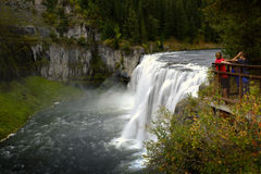 Mesa Falls Large Waterfall With Tourists Royalty Free Stock Photography