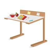 Mesa isolada da escola com cadernos e lápis Imagem de Stock Royalty Free