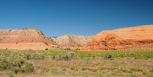Mesa near Indian Route 15. Indian Route 15 clings to the edge of a sandstone mesa in Apache County like this one, just north of the Mai Dagi Valley near Stock Image