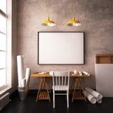 Mesa no sótão do estilo do moderno interior do modelo com cartazes 3d Imagens de Stock