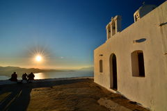 Mesa Panagia church at sunset. Plaka, Milos. Cyclades islands. Greece Stock Photo