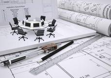 Mesa redonda, compases, volutas, arquitectónicas Imágenes de archivo libres de regalías