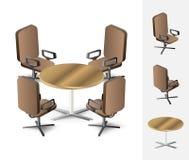 Mesa redonda con las sillas Foto de archivo