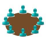 Mesa redonda con los iconos del compinche Imágenes de archivo libres de regalías