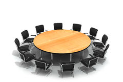 Mesa redonda e cadeiras da conferência Imagem de Stock