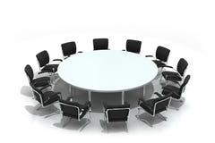 Mesa redonda e cadeiras da conferência Fotos de Stock Royalty Free