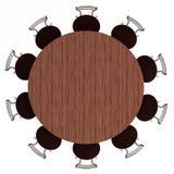 Mesa redonda e cadeiras, vista superior, isolada Imagens de Stock Royalty Free