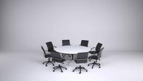Mesa redonda e oito cadeiras do escritório Imagem de Stock