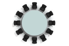Mesa redonda y sillas de la conferencia Imágenes de archivo libres de regalías