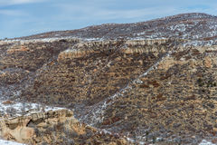 Mesa verde国家公园沙漠山冬天雪风景 免版税库存照片