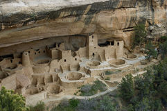 Mesa Verde. Cliff Palace, one of the most spectacular ancient cliffside villages of the ancient Anasazi people on the mesa top at Mesa Verde National Park near royalty free stock photo