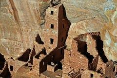 Mesa Verde Cliff Dwellings Glowing en el sol de la tarde fotos de archivo