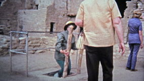 1972: Mesa Verde National Park native tribal cliff dwelling settlement. stock video footage