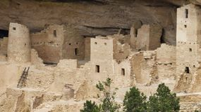 Telephoto Shot of Cliff Palace. Mesa Verde National Park near Cortez in Colorado has amazing cliff dwellings of the Ancestral Puebloan people. Near Mancos and stock photography