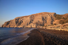 Mesa Vouna Mountain At Kamari Beach Stock Image