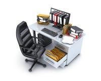 Mesa y muchos ficheros Imagen de archivo