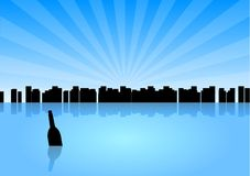 Mesage in the bottle. Black silhouette of city with message in the bottle Stock Image