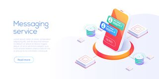 Mesaging service concept in isometric vector illustration. Electronic messenger app for smartphone. Webmail or mobile application. Layout for website landing royalty free illustration