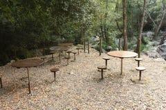 Mesas de picnic Imagen de archivo libre de regalías