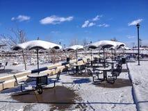 Mesas de picnic del invierno Fotos de archivo
