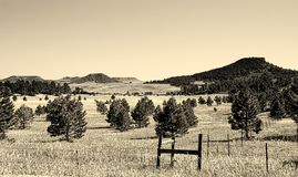 Mesas of the Old West Sepia Photo - Western Landscape Royalty Free Stock Photography