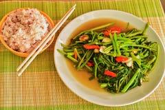 Mescoli la verdura fritta di ipomea con riso bianco e sbramato misto Immagini Stock