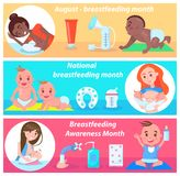 Mese allattante al seno nazionale in August Banner Fotografia Stock