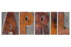 Mese di aprile nel tipo di legno Fotografia Stock