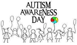 Mese di consapevolezza di autismo Puzzle multicolore nei palloni della forma Fotografie Stock