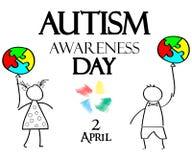 Mese di consapevolezza di autismo Puzzle multicolore nei palloni della forma Fotografia Stock