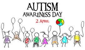 Mese di consapevolezza di autismo Puzzle multicolore nei palloni della forma Immagini Stock