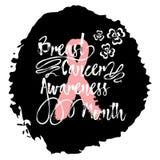 Mese di consapevolezza del cancro al seno Iscrizione della mano di citazione del segno Fotografie Stock