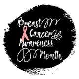 Mese di consapevolezza del cancro al seno Iscrizione della mano di citazione del segno Fotografia Stock