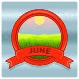 Mese di logo del paesaggio di giugno Fotografie Stock Libere da Diritti