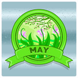 Mese di logo del paesaggio di maggio Fotografie Stock