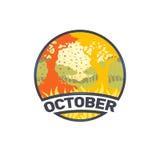 Mese di logo del paesaggio di ottobre Immagini Stock Libere da Diritti