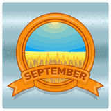 Mese di logo del paesaggio di settembre Immagini Stock Libere da Diritti