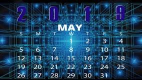 Mese di maggio del calendario 2019 immagini stock